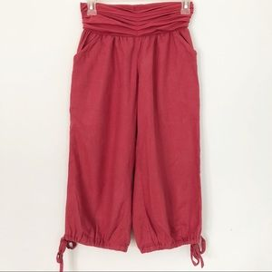 Anthropologie Mermaid | Red Linen Cropped Pants
